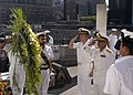 US Navy 050531-N-2114S-004 Chief-of-Staff of the Pakistan Navy, Vice Adm. Farooq Rashid, right center, helped lay a wreath near Ground Zero.jpg