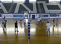 US Navy 061026-N-0490C-001 Sailors aboard the Nimitz-class aircraft carrier USS Dwight D. Eisenhower (CVN 69) and the Cyprus Shipping Companies Employees Association Volleyball Team come together over a friendly volleyball game.jpg