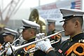 US Navy 070324-N-4207M-004 A trumpeter in the Republic of Korea marine band welcomes USS Essex (LHD 2) as she arrives in Pohang for exercise Foal Eagle 2007.jpg