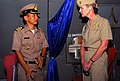 US Navy 070509-N-4124C-015 A Royal Thai Navy officer speaks with Expeditionary Strike Group (ESG) 7 Commander, Rear Adm. Carol M. Pottenger, about the capabilities of the Thai P-3 aircraft.jpg