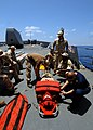 US Navy 080714-N-4236E-021 A visit, boarding, search and seizure team practices stretcher bearing procedures aboard the guided-missile cruiser USS Vella Gulf (CG 72).jpg