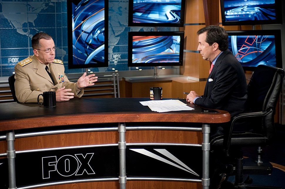 US Navy 080720-N-0696M-036 Adm. Mike Mullen, chairman of the Joint Chiefs of Staff, is interviewed by Chris Wallace host of Fox News Sunday