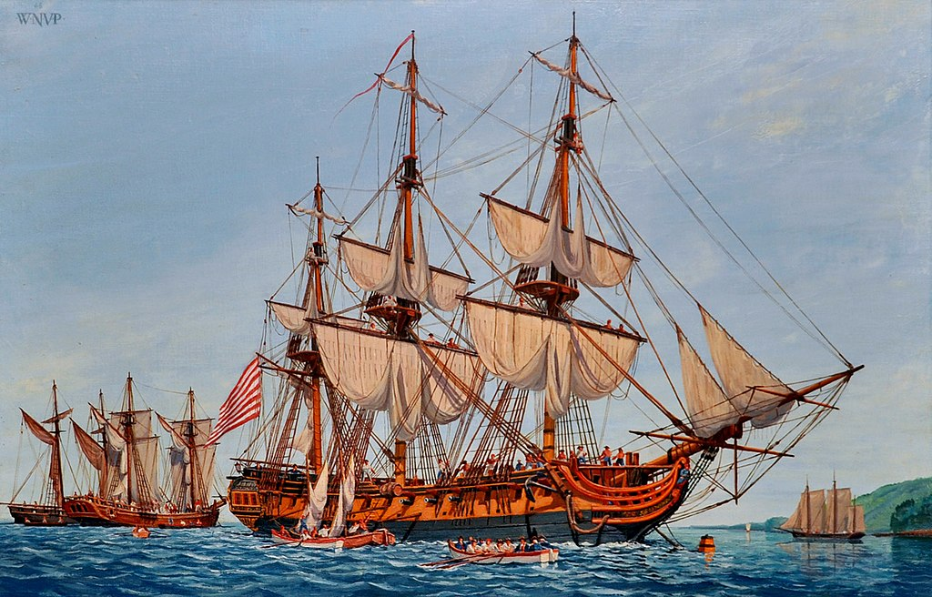 US Navy 090925-N-9671T-002 A Revolutionary War painting depicting the Continental Navy frigate Confederacy is displayed at the Navy Art Gallery at the Washington Navy Yard.jpg