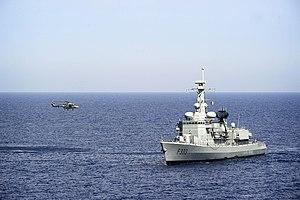 Portuguese Naval Aviation - A Portuguese Navy Lynx prepares to land aboard NRP ''Bartolomeu Dias'' (F-333).