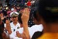 US Navy 100813-N-1688B-066 Rear Adm. Mark Boensel, commander of Navy Region Mid-Atlantic, administers an oath of enlistment for future Sailors in the delayed entry program during the 2nd annual Navy Night at Harbor Park.jpg