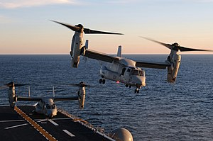US Navy 120110-N-SB587-278 An MV-22 Osprey takes off from the amphibious assault ship USS Kearsarge (LHD 3).jpg