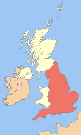 Location of England within the United Kingdom.