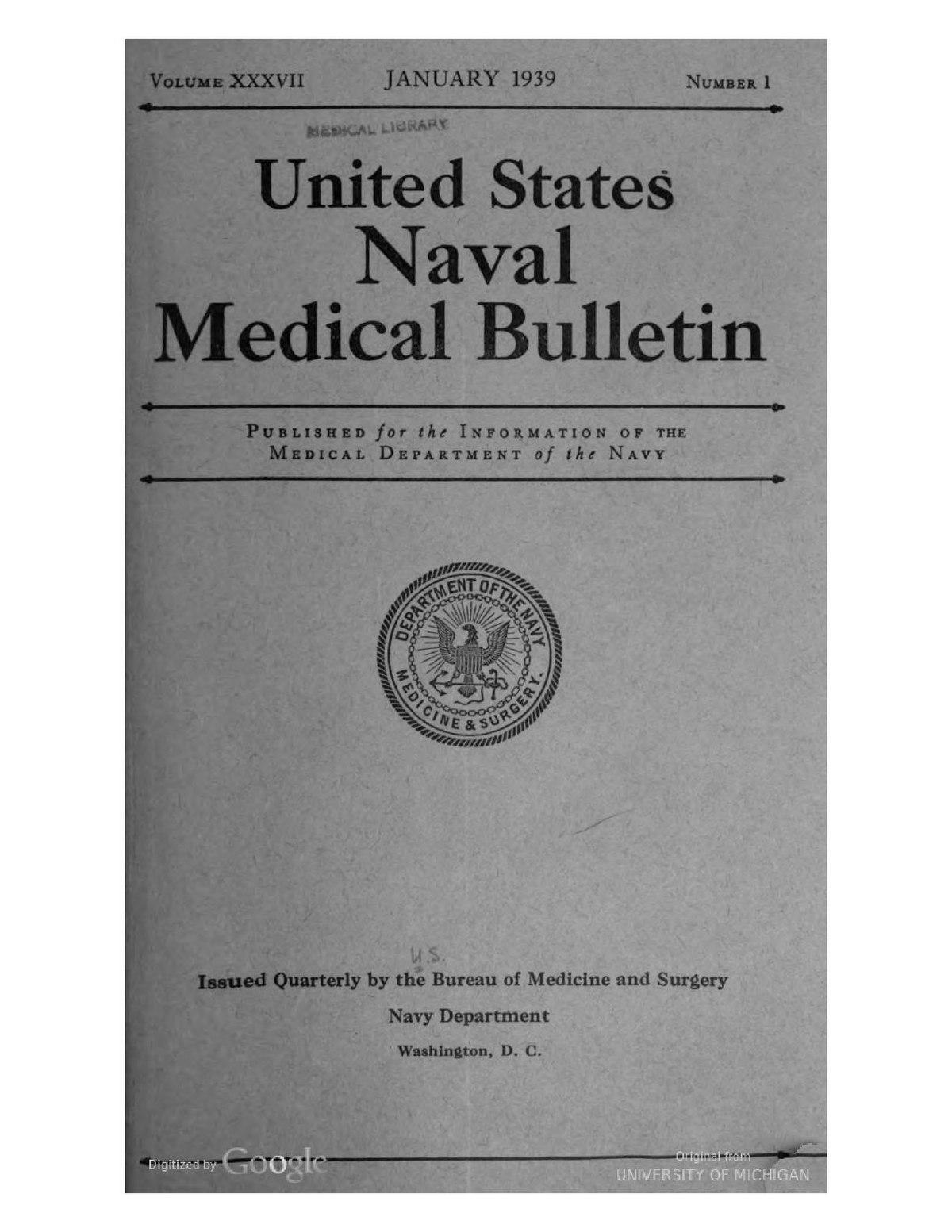 File:United States Naval Medical Bulletin Vol. 37, Nos. 1-4, 1939 ...