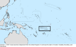 Map of the change to the United States in the Pacific Ocean on October 1, 1978
