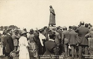 Grand-Pré, Nova Scotia - Unveiling of Evangeline (1920) by famed Quebec sculptor Louis-Philippe Hébert, completed posthumously by his son Henry