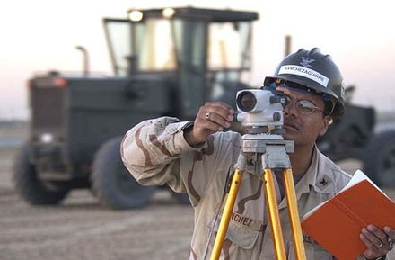 Surveyor at work with a leveling instrument Us land survey officer.jpg