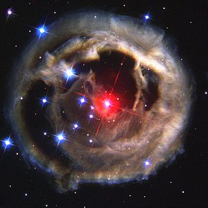 Compact star - Formerly a white dwarf, V838 Monocerotis has accreted enough material to become a red supergiant.