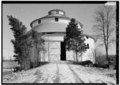 VIEW FROM THE WEST (CLOSER VIEW) - Ranck Round Barn, Fayette-Wayne County Line Road, Waterloo, Fayette County, IN HABS IND,21-WATLO.V,1A-2.tif