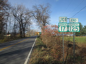 Vermont Route 125 - VT 125 approaching the junction with VT 17 in Chimney Point