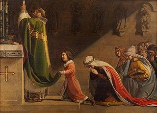 Sv. Václav a sv. Ludmila při mši