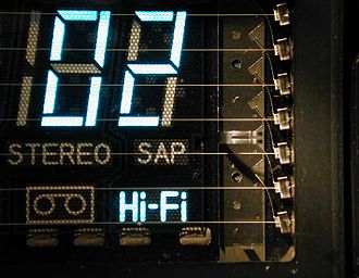 Vacuum fluorescent display - A close-up of the VFD highlighting the multiple filaments, tensioned by the sheet metal springs at the right of the image