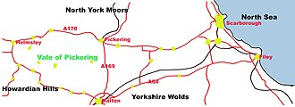 Vale of Pickering - The location and roads of the Vale of Pickering