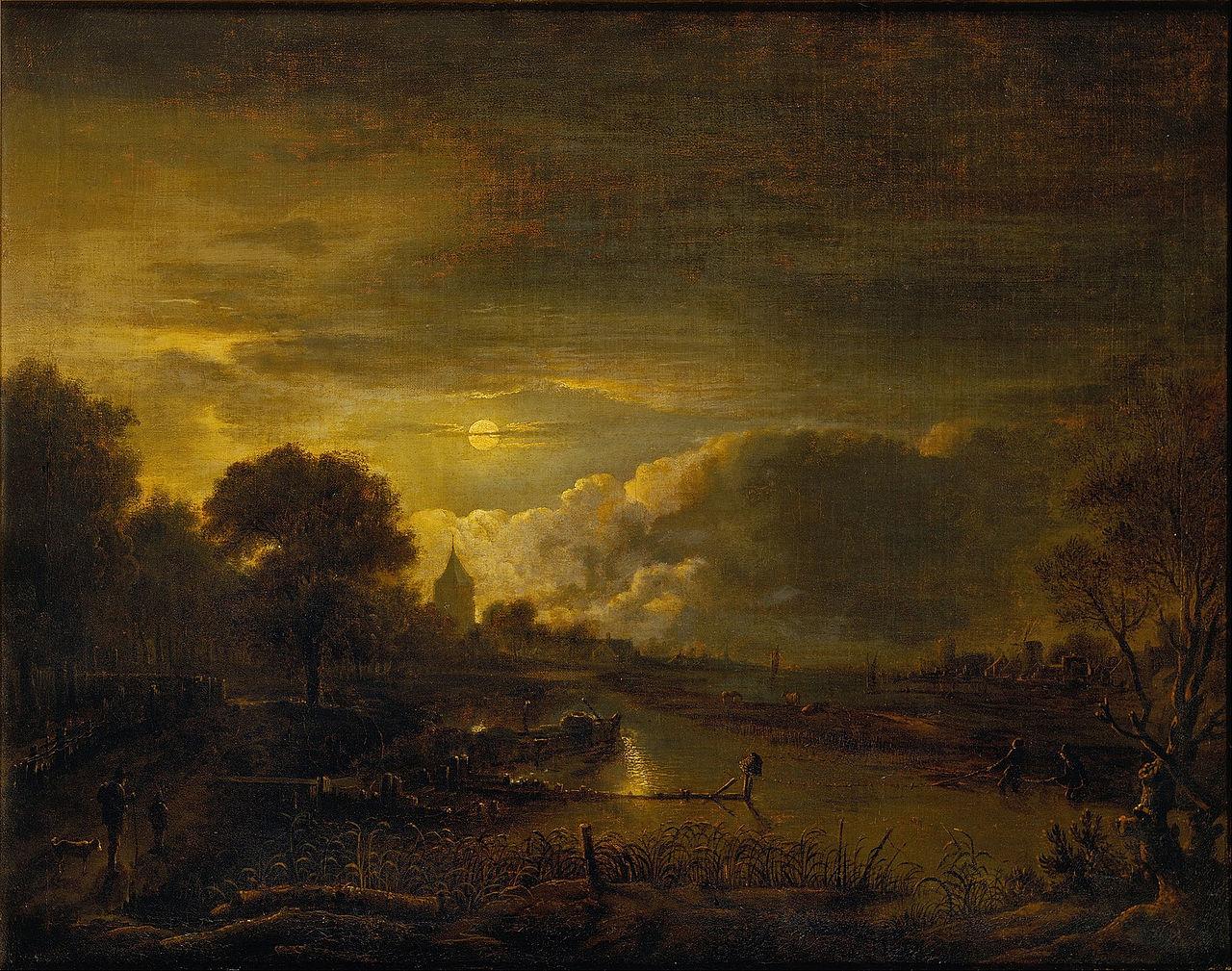 File Van Der Neer Aert River Scene By Moonlight