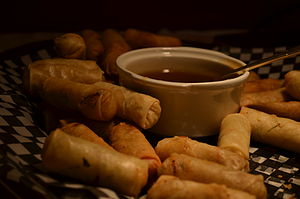 Spring roll - Hong Kong style spring rolls served with dipping sauce.