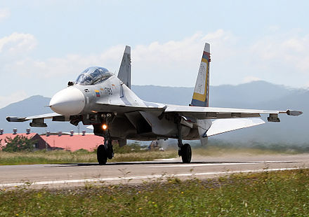 A Sukhoi SU-30MKV of the Venezuelan Air Force Venezuelan Air Force Sukhoi SU-30MK2 AADPR-2.jpg