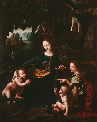 Giampietrino -  Vergine delle Rocce or Virgin of the Rocks Cheramy, a meticulous copy of Virgin of the Rocks in the Louvre painted by Leonardo da Vinci