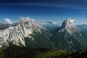 Vercors Massif - View of the Grand Veymont and Mont Aiguille from the south