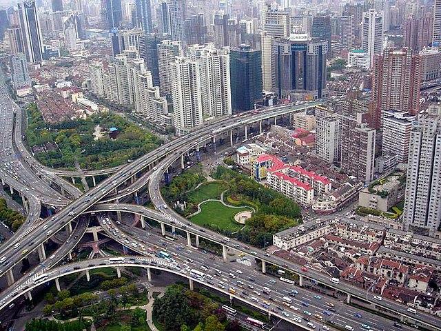 Шанхай, Китай, автомобильная развязка район Пуси