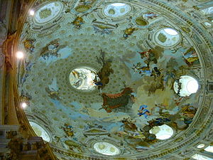 Sanctuary of Vicoforte - The frescoed vault of the elliptical cupola