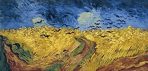 A painting of a wheat field with crows flying above.