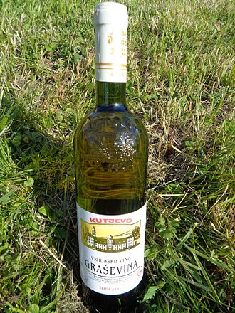 Kutjevo - A bottle of Graševina (Welschriesling) superior quality white wine from Kutjevo