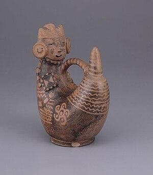 Virú culture - Virú ceramic using negative painting technique. Larco Museum Collection