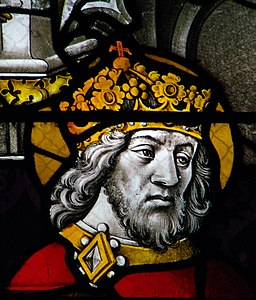 Charlemagne, detail from window at Notre Dame, By Vassil (Own work) [Public domain], via Wikimedia Commons