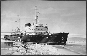 Voima (1952 icebreaker) - Voima breaking ice outside Helsinki, showing her original outfit
