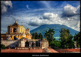 La Merced Church, the Agua volcano in the background