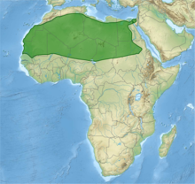 Map of Africa with distribution marked in green