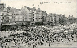 Second Ostend Raid - The beachside of the city of Ostende in 1915.