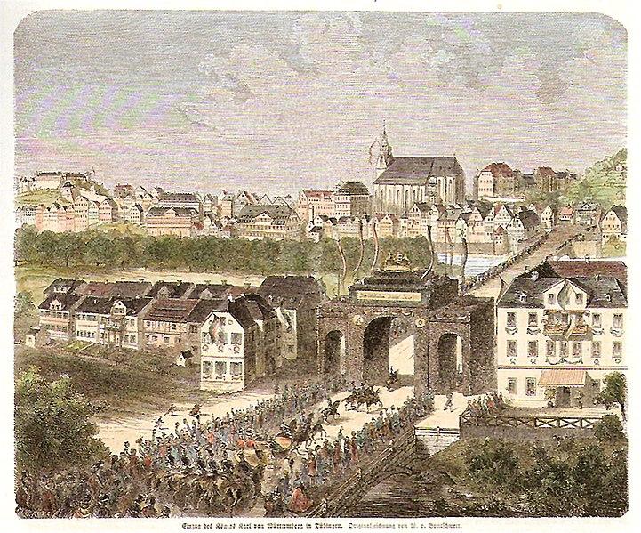 Datei:W v Breitschwert - Einzug des Königs Karl in Tübingen, kol Holzschnitt 1865 Inv.4133 (SW029).jpg