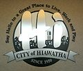 Wall plaque of Hiawatha Iowa seal.JPG