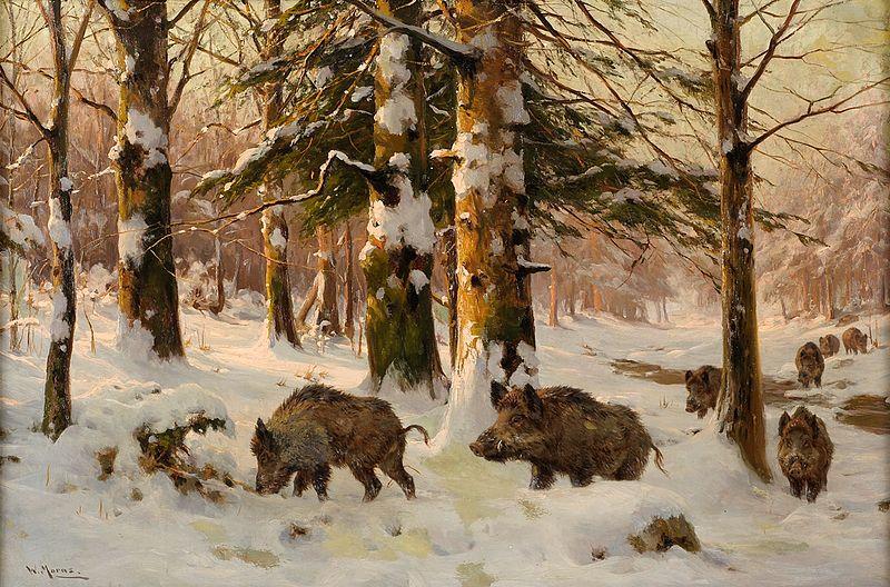 File:Walter Moras Schwarzwild im Winterwald.jpg