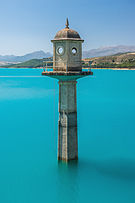 Watch tower of the dam, Embalse de los Bermejales, Andalusia, Spain.jpg