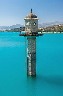 Watch tower of the dam, Embalse de los Bermejales, Andalusia, Spain