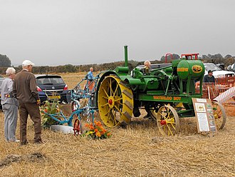 Petrol-paraffin engine - Waterloo Boy tractor produced by John Deere, 1919-1920. The tractor has a small petrol tank, used for starting the engine and a larger tank (at the front) for paraffin to run it