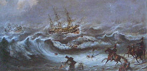 Waterloo (1815 ship) - The troop carrier Abercrombie Robinson and the convict ship Waterloo aground in Table Bay on 28 August 1842