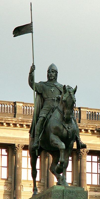 Wenceslaus I Duke of Bohemia equestrian statue in Prague 1