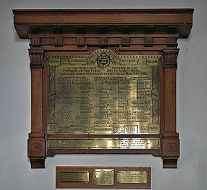 Leeds Rifles - Memorial to fallen of the Leeds Rifles Sergeants' Mess in St Peter Church, Leeds