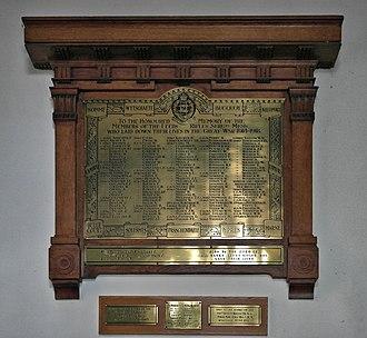 Leeds Rifles - Memorial to fallen of the Leeds Rifles Sergeants' Mess in St Peter Church, Leeds