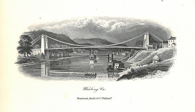 A lithograph of the Wheeling Suspension Bridge Wheeling Suspension Bridge Lithograph.jpg