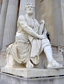 Modern statue representing Tacitus outside the Austrian Parliament Building