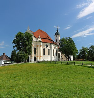 The Wieskirche, an UNESCO World Heritage Site, is a rococo church in Bavaria.