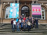 Wikimedia CEE Meeting 2017 - Group at the stairs of Ethno-Museum - 2.jpg